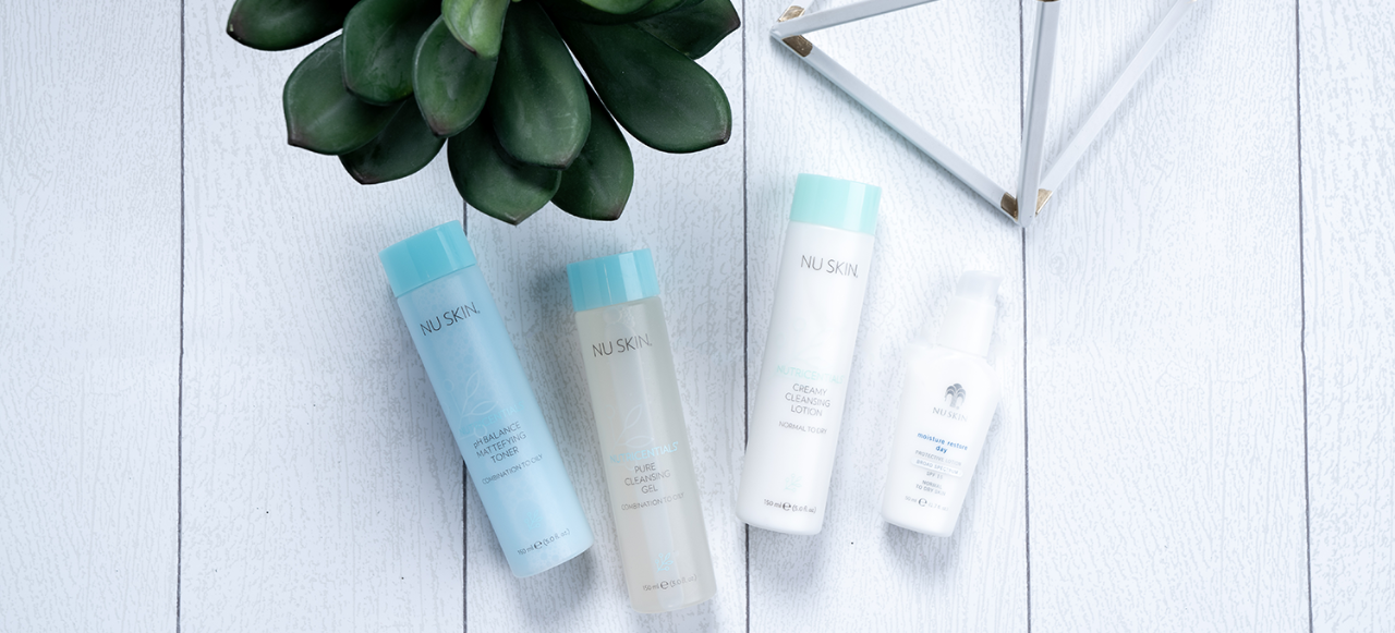 nutricentials ph balance matefying toner, pure cleansing gel, and creamy cleansing lotion, along with Nu Skin moisture restore day