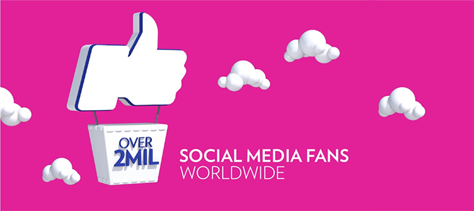 Nu Skin has over 2 million social media fans worldwide.