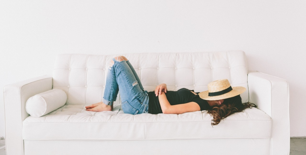 girl relaxing on a couch