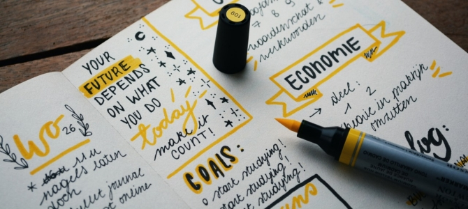 goal journal with yellow highlighter