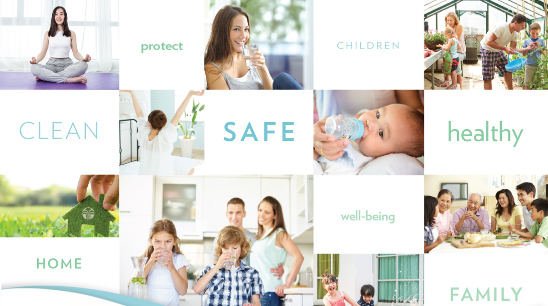 Collage of healthy families drinking and utilizing clean water for a healthier lifestyle.