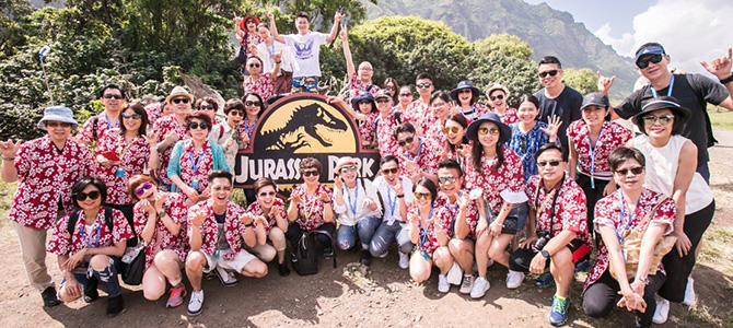 Nu Skin sales leaders visit the set of Jurassic Park in Hawaii