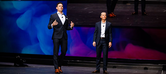 Ritch Wood, Nu Skin CEO, and Ryan Napierski, Nu Skin President, on stage kicking off the launch sessions.