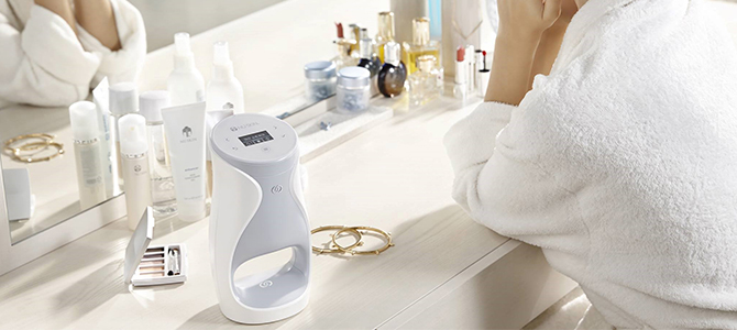 Personal ageLOC Me device on a vanity.
